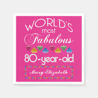 80th Birthday Most Fabulous Colorful Gems Pink Disposable Napkin