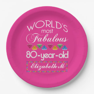 80th Birthday Most Fabulous Colorful Gems Pink Paper Plate