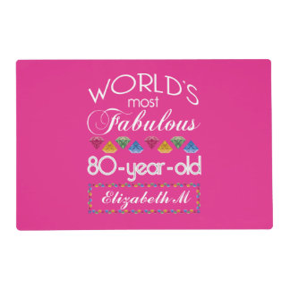 80th Birthday Most Fabulous Colorful Gems Pink Placemat