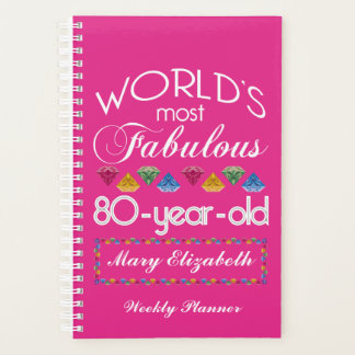 80th Birthday Most Fabulous Colorful Gems Pink Planner