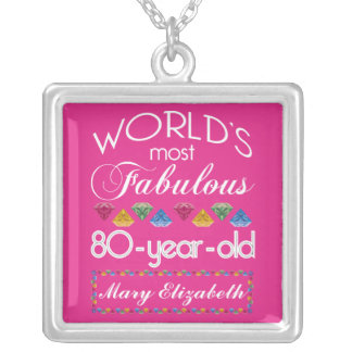 80th Birthday Most Fabulous Colorful Gems Pink Silver Plated Necklace