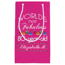 80th Birthday Most Fabulous Colorful Gems Pink Small Gift Bag