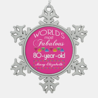 80th Birthday Most Fabulous Colorful Gems Pink Snowflake Pewter Christmas Ornament