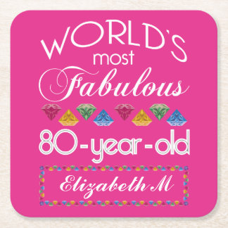 80th Birthday Most Fabulous Colorful Gems Pink Square Paper Coaster