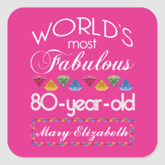 80th Birthday Most Fabulous Colorful Gems Pink Square Sticker
