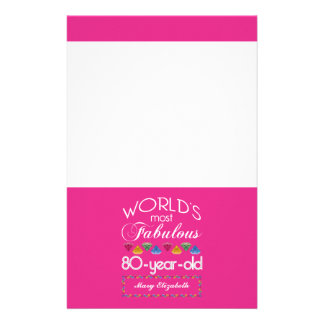 80th Birthday Most Fabulous Colorful Gems Pink Stationery