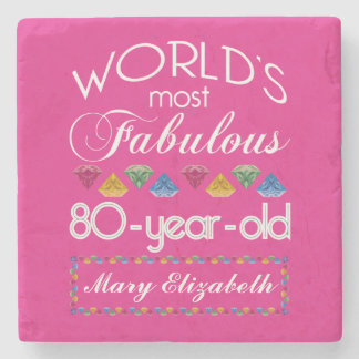 80th Birthday Most Fabulous Colorful Gems Pink Stone Coaster