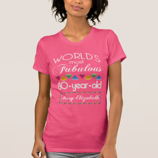80th Birthday Most Fabulous Colorful Gems Pink T-Shirt