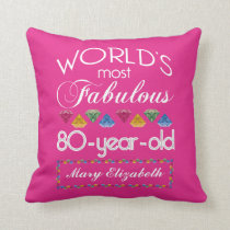 80th Birthday Most Fabulous Colorful Gems Pink Throw Pillow