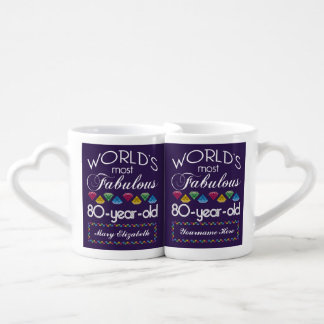 80th Birthday Most Fabulous Colorful Gems Purple Coffee Mug Set