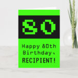 """[ Thumbnail: 80th Birthday: Nerdy / Geeky Style """"80"""" and Name Card ]"""