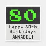 """[ Thumbnail: 80th Birthday - Nerdy / Geeky Style """"80"""" & Name Napkins ]"""