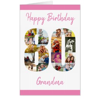 80th Birthday Number 80 Photo Collage Personalized Card