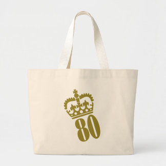 80th Birthday - Number – Eighty Large Tote Bag