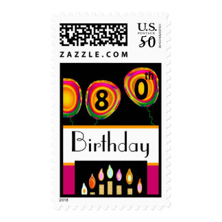 80th Birthday - Orange & Pink Balloons and Candles Postage