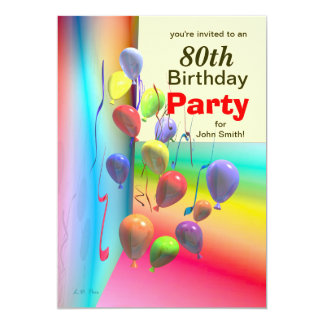 80th Birthday Party Balloon Wall Card