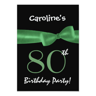 80th Birthday Party Black and Colorful Printed Bow 5x7 Paper Invitation Card
