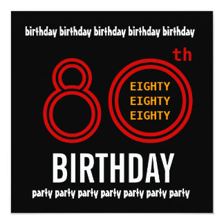 80th Birthday Party Black Red and Gold Card