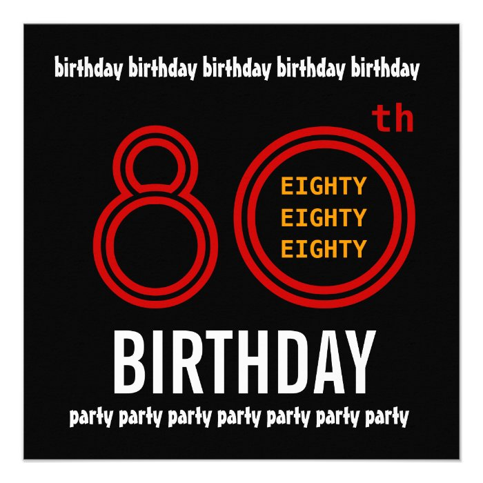 80th Birthday Party Black Red And Gold Personalized Invitation