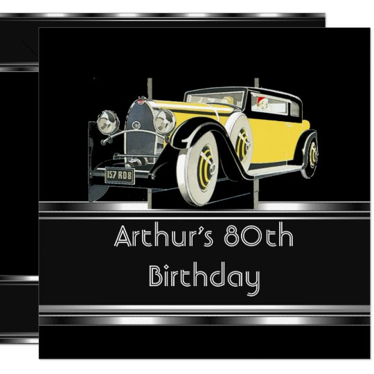 80th Birthday Party Black Vintage Car Mans Invitation