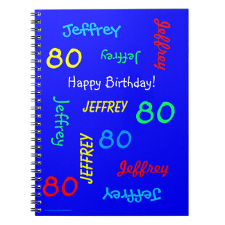 80th Birthday Party Blue Guest Book Repeating Name Spiral Notebook