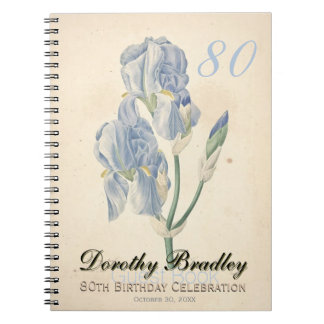 80th Birthday Party Botanical Irises Guest Book Spiral Notebook