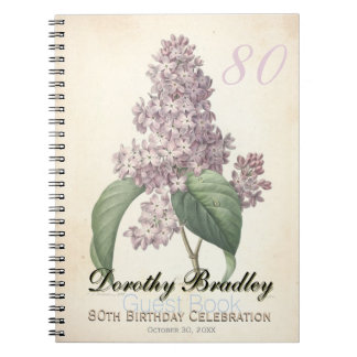 80th Birthday Party - Botanical Lilac Guest Book Spiral Note Books