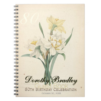 80th Birthday Party Botanical Narcissus Guest Book Note Book