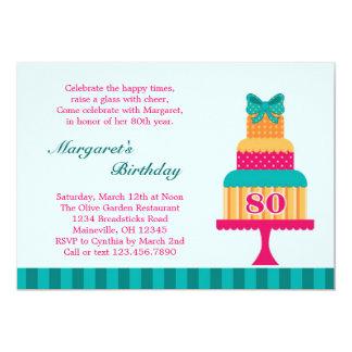 80th Birthday Party Cake Invitation