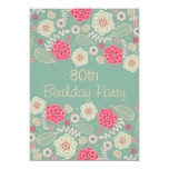 80th Birthday Party Chic Funky Modern Floral Card