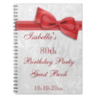 80th Birthday Party Damask and Bow Notebook