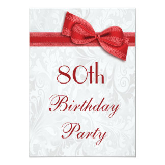 80th Birthday Party Damask and Faux Bow 5x7 Paper Invitation Card