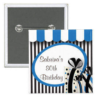 80th Birthday Party | DIY Text | Blue Button