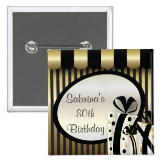 80th Birthday Party | DIY Text | Gold Pinback Button