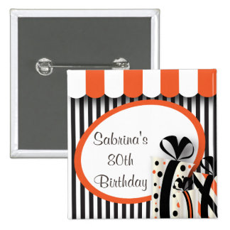80th Birthday Party | DIY Text | Orange Button