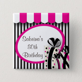 80th Birthday Party   DIY Text   Pink Button