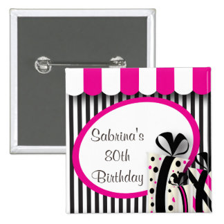 80th Birthday Party | DIY Text | Pink Button