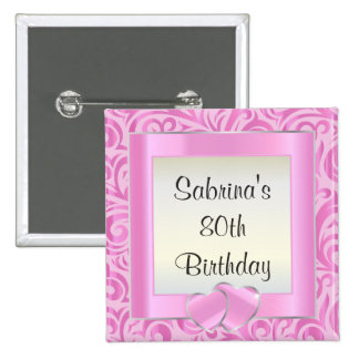 80th Birthday Party | DIY Text | Pink Pinback Button