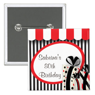 80th Birthday Party | DIY Text | Red 2 Inch Square Button