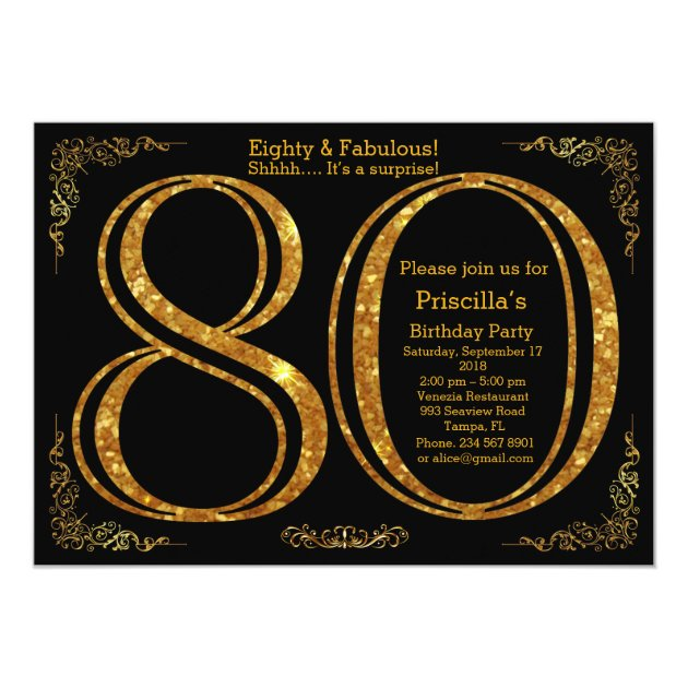 80th Birthday party,Eighty,great Gatsby,black&gold Card