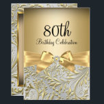 "80th Birthday Party Elegant Gold Bow Floral Swirl Invitation<br><div class=""desc"">Elegant Gold Bow Floral Swirl 80th Birthday Party Invitation. Elegant gold diamond bow & floral swirl design. Please note: All flat images! They do not have real jewels!</div>"
