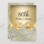 """80th Birthday Party Elegant Gold Bow Floral Swirl Invitation<br><div class=""""desc"""">Elegant Gold Bow Floral Swirl 80th Birthday Party Invitation. Elegant gold diamond bow & floral swirl design. Please note: All flat images! They do not have real jewels!</div>"""