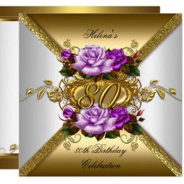 80th Birthday Party Elegant Purple Gold Roses 3 Card