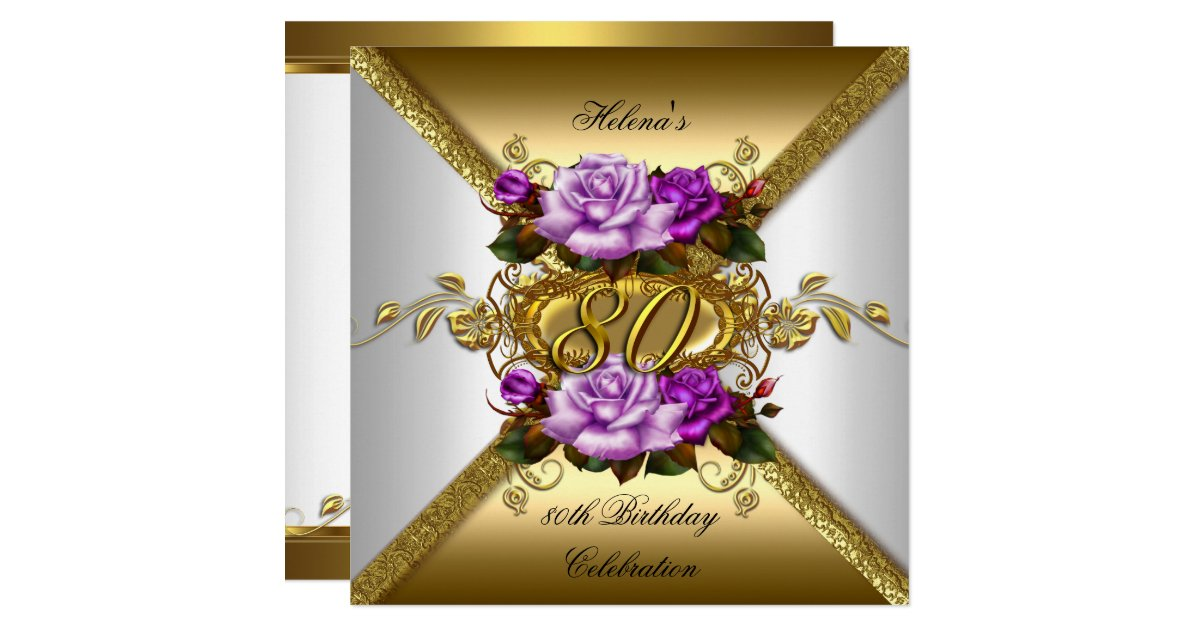 80th Birthday Party Elegant Purple Gold Roses 3 Invitation Zazzle Com