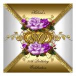 80th Birthday Party Elegant Purple Gold Roses 3 Custom Announcements