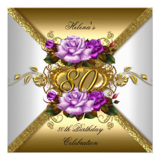 80th Birthday Party Elegant Purple Gold Roses 3 Custom Announcements