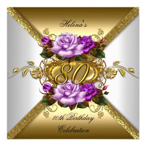 Most popular 80th birthday party invitations custominvitations4u 80th birthday party elegant purple gold roses 3 custom announcements stopboris Choice Image