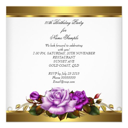 80th Birthday Party Elegant Purple Gold Roses 3 Custom Announcements (back side)