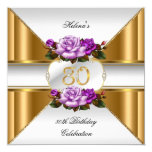 80th Birthday Party Elegant Purple Gold Roses B Card