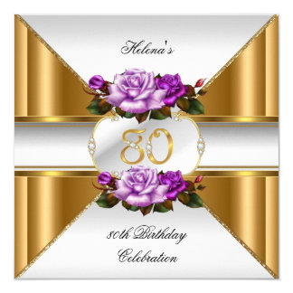 80th Birthday Party Elegant Purple Gold Roses B Card
